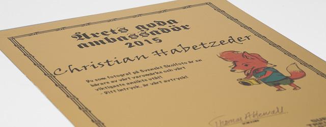 Årets goda ambassadör 2015 för Svenskt Skolfoto är Christian Habetzeder